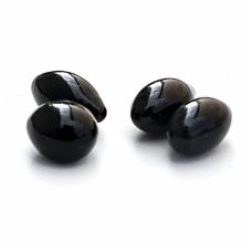 Dekoratyviniai akmenys KRATKI FIRE GLASS ovalūs juodas kristalas